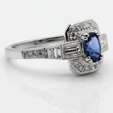 14K White Gold Diamond & Natural Sapphire Ring, Size 6 1/2