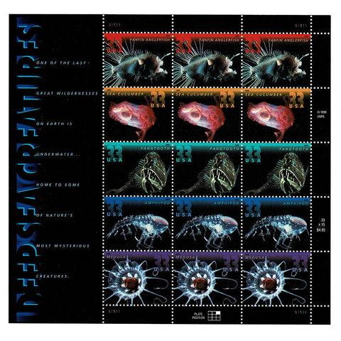 2000 33c Scott #3439-43 Deep Sea Creatures Sheet (15) MNH
