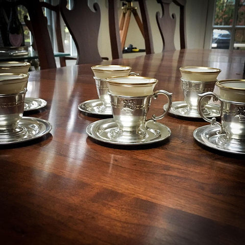 Set of Six Sterling Demitasse Cups with Lenox Porcelain Liners and Sterling Trays, Flower Basket Motif