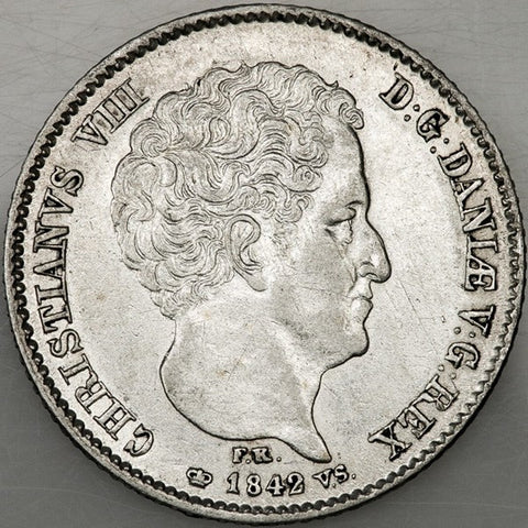 1842 FK-VS Denmark Silver 16 Rigsbankskilling KM.733 - About Uncirculated