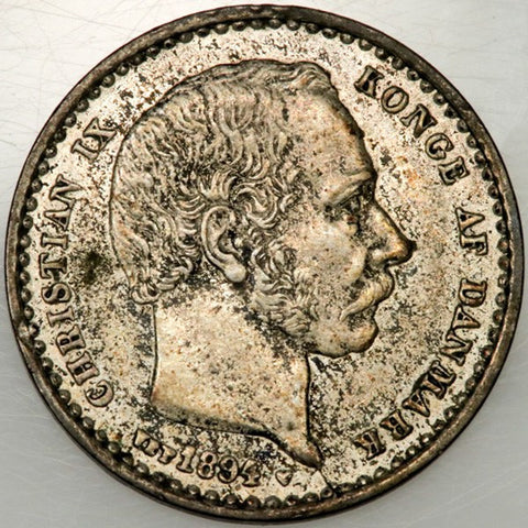 1894-VBP Denmark Silver 25 Ore KM.796.2 - About Uncirculated