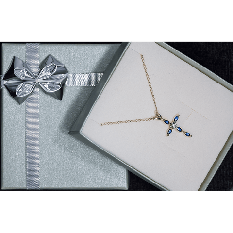 "Pretty 16"" 14K Gold Diamond and Sapphire Cross Necklace"