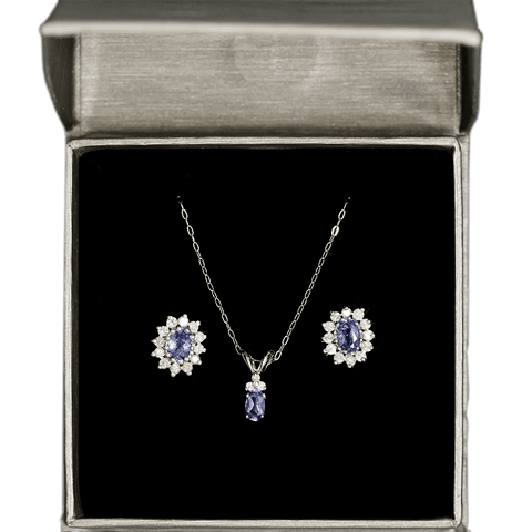 14K White Gold Diamond & Tanzanite Necklace and Earring Set
