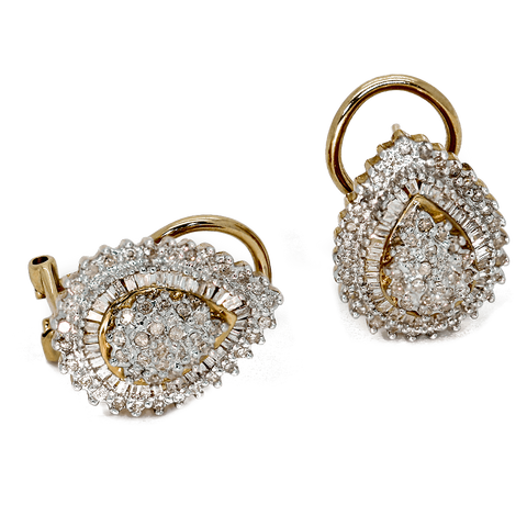 10K Yellow Gold Diamond Cluster Earrings With Omega Backs