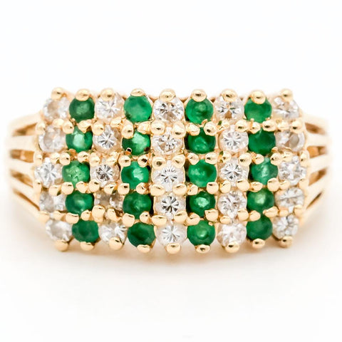 14K Gold Diamond & Emerald Ring - Size 6 1/4
