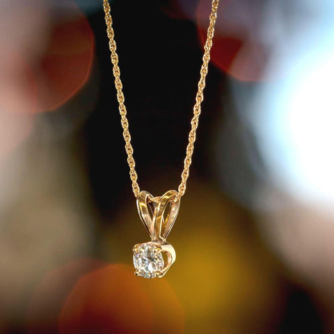 "Beautiful .38 ct Diamond Pendant on 17"" 14k Gold Chain"