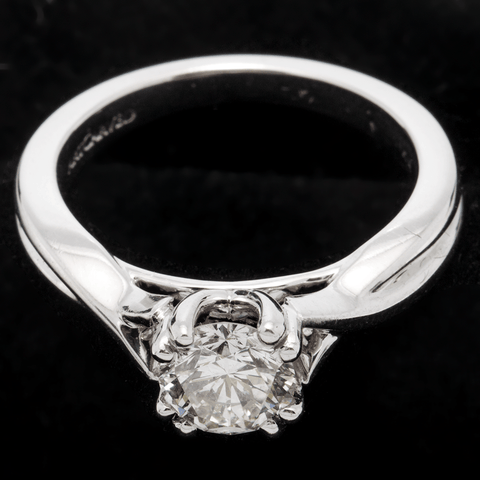 14K White Gold 1.0 Carat Round Brilliant Diamond, Size 6 3/4 (GIA Certified)