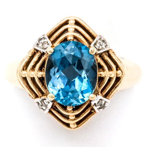Retro 10K Gold 3 Carat Blue Topaz and Diamond Ring - Size 10