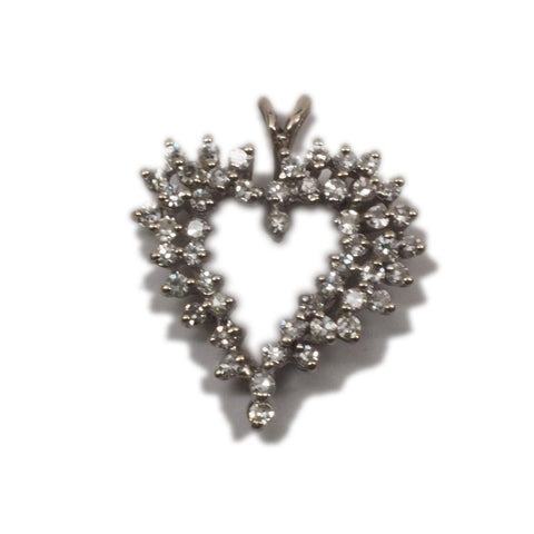 10K White Gold Diamond Heart Pendant 50 Round Brilliant Diamonds