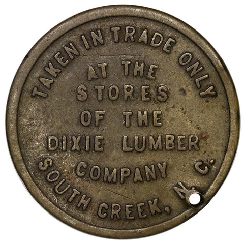 South Creek, NC Dixie Lumber 50¢ Trade Token - Very Fine (holed)