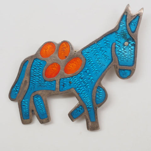 Vintage Taxco Mexico Sterling Silver Enamel Donkey Brooch
