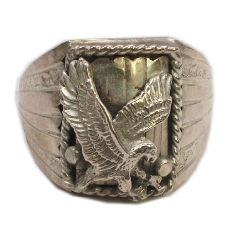 Navajo S. Ray Sterling Silver Raised Eagle Ring Size 11.5