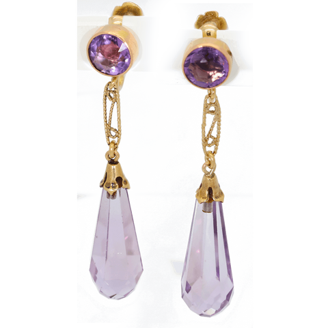 Vintage 14K Gold Amethyst Dangle Screwback Earrings - Gorgeous
