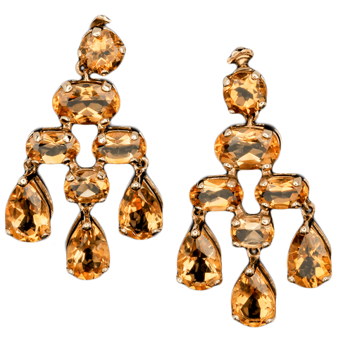14K Yellow Gold Citrine Dangle Earings - Approximately 3.00 TCW