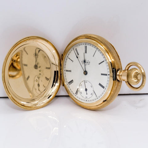1891 Elgin 14K Solid Gold Hunting Pocket Watch - 11 Jewel, Model 1, Grade 101, Size 6s