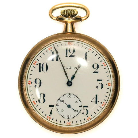 1916 Gold Filled Elgin Pocket Watch - Grade 313, Model 7, 15 Jewel, Size 16s