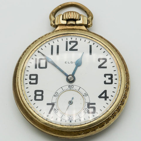 1926 Elgin 14K Gold Filled Railroad Grade Pocket Watch - 21 Jewel, Grade 478, Size 16s