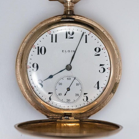 1906 Elgin GF Pocket Watch - 15 Jewel, Model 3, Size 12s Die Engraved Case & Includes Chain
