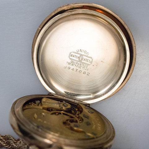 1910 Elgin GF Pocket Watch - 15 Jewel, Model 2, Size 6s Polished Case & Includes Chain