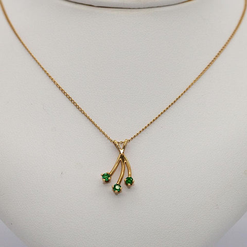 Pretty Little 14K Gold and Emerald Necklace - 15.5""