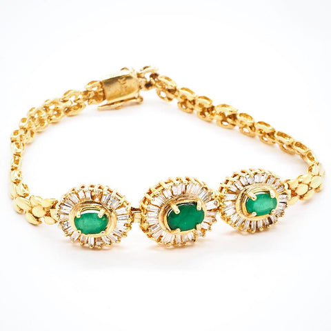 "Emerald and Diamond 14K Gold Bracelet - 7"" With Secure Clasp"