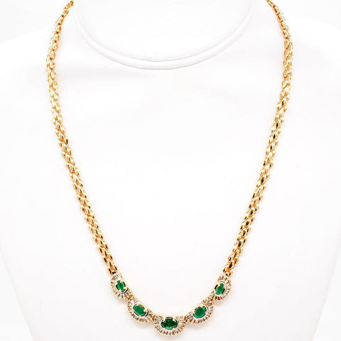 "Emerald and Diamond 14K Gold Necklace - 18"" With Secure Clasp"
