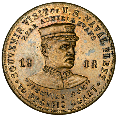 1908 U.S. Navy World Tour, Pacific Coast HK-351 Type-2 R5 36mm ~ About Uncirculated+
