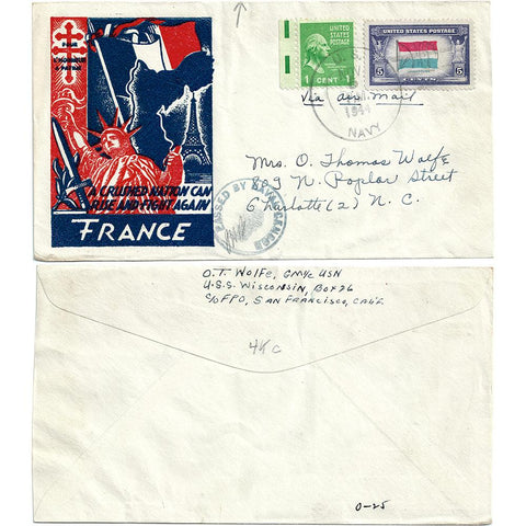 Nov 5, 1944 Fight Again France Glossy Cachet Patriotic Cover USS Wisconsin