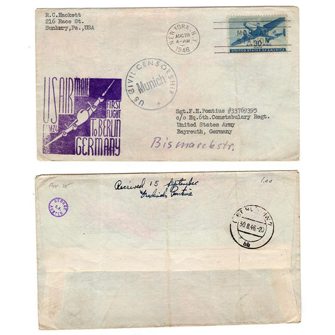 1946 New York NY First Flight To Berlin Germany with Civil Censor Munich Stamp