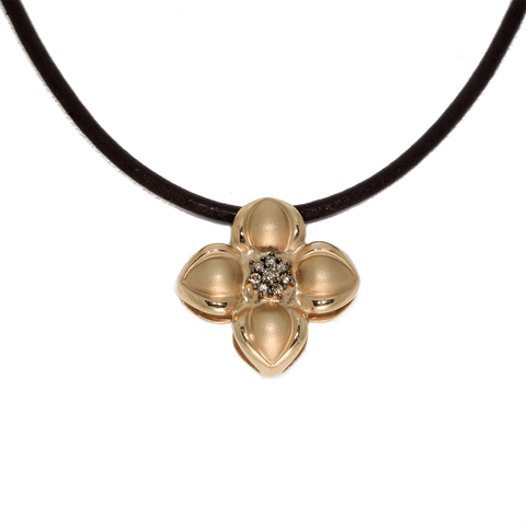 14K Diamond Dogwood Flower With Champagne Diamonds Necklace
