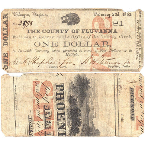 1863 $1 County of Fluvanna, Palmyra, Virginia CF06-04A ~ Very Good