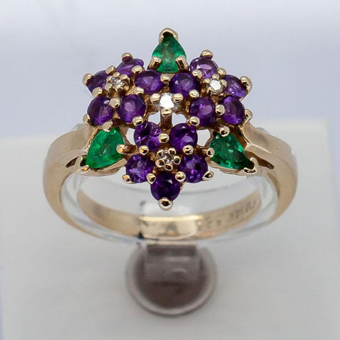 Vintage Franklin Mint 14K Gold Diamond, Emerald and Amethyst Floral Burst Ring, Size 8 1/2