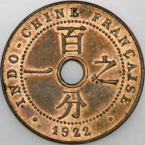 1922 French Indo-China Centime KM.12.1 - Choice Red & Brown Uncirculated
