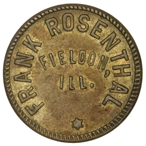 1917-1919 Fieldon, IL Frank Rosenthal 5¢ Trade Token - About Uncirculated
