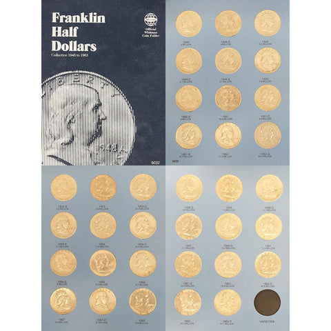 Complete Circulated 1948-1963 P-D-S Franklin Half Dollar Set in Whitman Coin Folder - Fine to AU