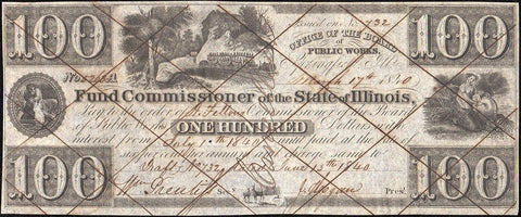 1840 $100 Fund Commissioner of the State of Illinois, Springfield - Choice Uncirculated