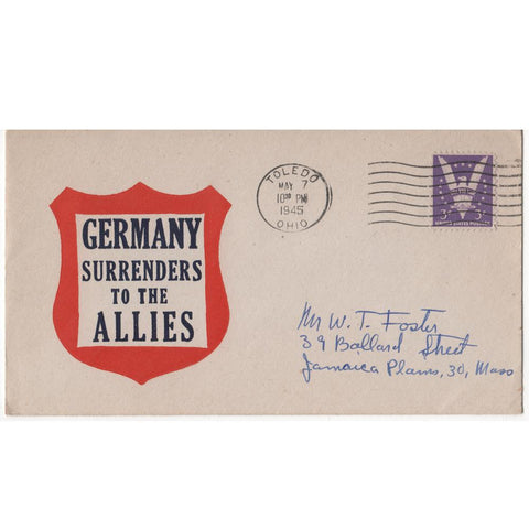 "May 7, 1945 ""Germany Surrenders to the Allies"" WW2 Patriotic Cover"