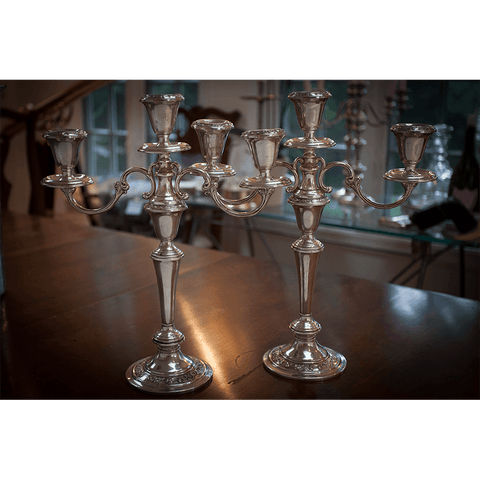 Pair of Gorham Strasbourg (1130) Convertible Sterling Candelabras
