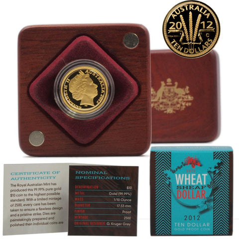 "2012 Australia 1/10th OZ $10 ""Wheat Sheaf"" Gold Proof Coin - Gem Proof in OGP"