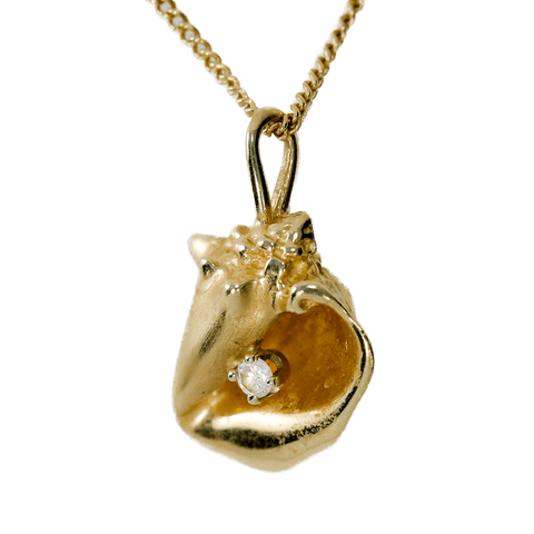 "14K Gold Conch Shell with Diamond Accent on 14K Gold 18"" Necklace"