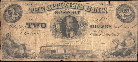 1857 $2 Citizens Bank of Gosport Indiana - Good/Very Good