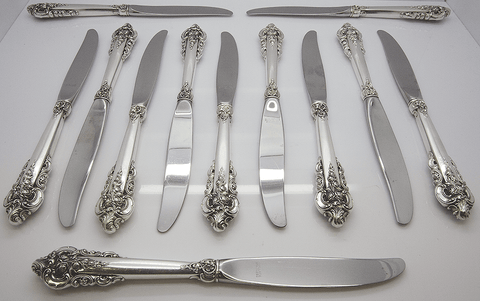 Set of 12 Wallace Grande Baroque Sterling Silver Knifes