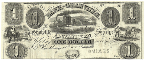 18__ $1 Bank of Granville / Granville Alexandrian Society Ohio ~ Very Fine