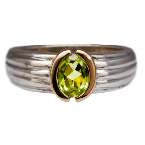 14K Gold & Sterling Silver Peridot Ring, Size 7 1/4