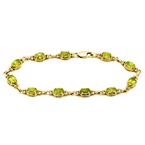 14K Gold & Brilliant Peridot Tennis Bracelet - 7""