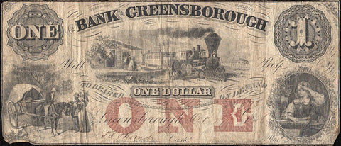 1856 $1 Bank of Greensborough Georgia Ga-165-G2a - Fine