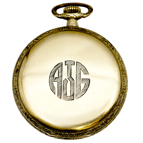 Gruen Gold Filled Fancy Face Pocket Watch - 17 Jewel, Size 12