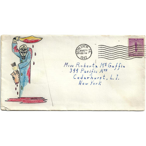 Aug 28, 1942 - Gruesome Hand Drawn/Colored Cover Bethlehem PA Cancel