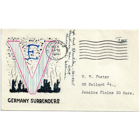 May 8, 1945 Handmade V-E Day Cachet Patriotic Cover