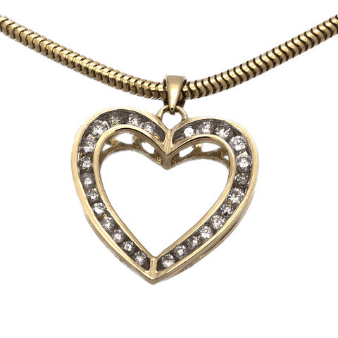 14K Gold and Diamond Heart Necklace - 16""